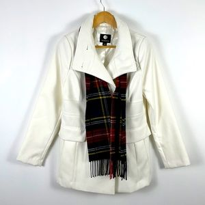 Jessica White Peacoat with Plaid Scarf